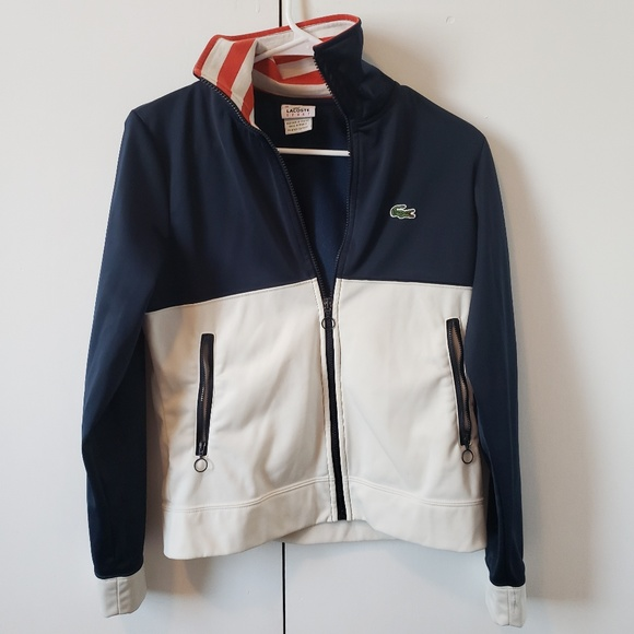 Lacoste Jackets & Blazers - Lacoste red white and blue track jacket